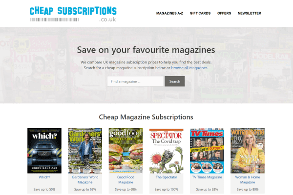 Cheap Subscriptions homepage